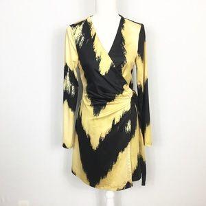Ark & Co Zig Zag Yellow Black Wrap Dress